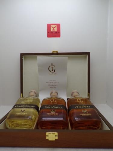 MARZADRO *COLLEZIONE GRAPPE GIARE* 3 bottiglie da cl 20 di monovitigno (cassa legno)